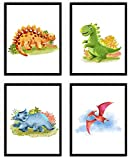 WIETRE® 4er Set Bilder Dinosaurier Kinderzimmer Babyzimmer