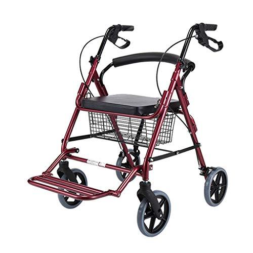XINGZHE XZ Caminante for Ancianos, bastón de Cuatro Patas con Frenos Carro for Ancianos Cesta de Compras Plegable con Placa de Asiento con Ruedas, hasta 242 Libras Andador Ligera (Color : Red)