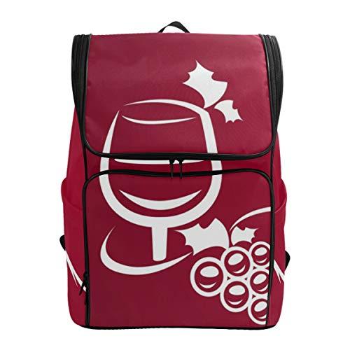 Fantazio Sac à Dos en Verre à vin Rouge pour Ordinateur Portable, Voyage, randonnée, Camping, décontracté, Grand Sac à Dos pour l'école