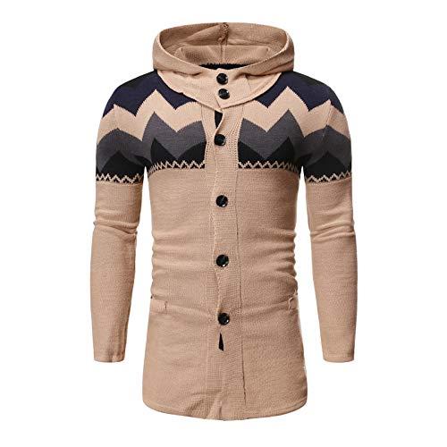 Chaqueta de Punto con Capucha a Juego de Color para Hombre Moda Streetwear Casual Cómodo suéter de Longitud Media de un Solo Pecho XL