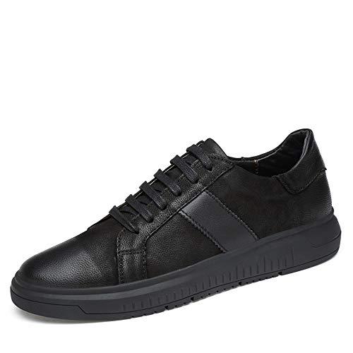 Zapatillas de deporte de moda for hombres zapatos for caminar con cordones de cuero PU superior Casual Casual bajo Top To Toe antideslizante Ligero Ligero Ajustable ( Color : Black , Size : 42 EU )