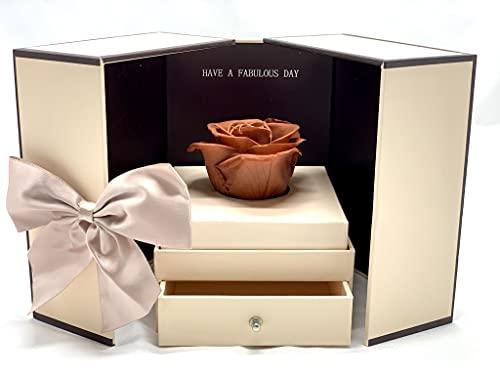 Rosa Eterna en Caja joyería con Lazada - Flores Día de la Madre - Rosa preservada con DEDICATORIA (Caja Beige)