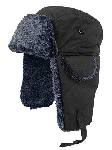 Adult Fur Lined Waterproof Trapper Hat-Black-59
