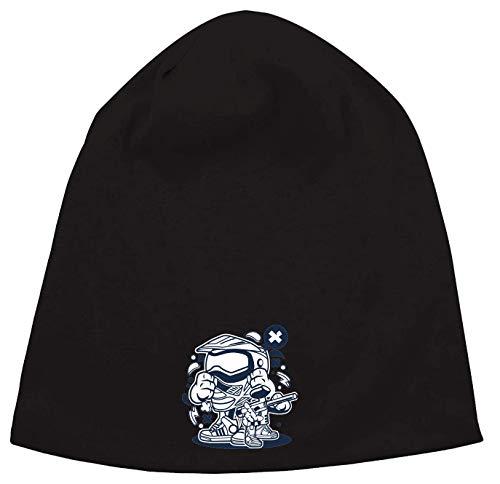 Cartoon Style Paintball Air Gun and Helmet Jersey Beanie Hut Dünne Slouch Cap Unisex One Size
