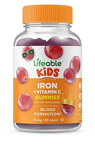 Lifeable Iron for Kids – with Vitamin C – 10 mg – Great Tasting Natural Flavor Gummy Supplement – Gluten Free Vegetarian GMO-Free Chewable – for Anemic and Iron Deficient – for Children – 90 Gummies