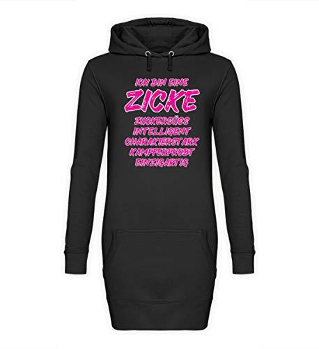 ALBASPIRIT Zicke Definition Zickig Lustiger Spruch Frauenpower Emanzipation Zickenshirt Geschenk - Damen Hoodie-Kleid -S-Jet Schwarz