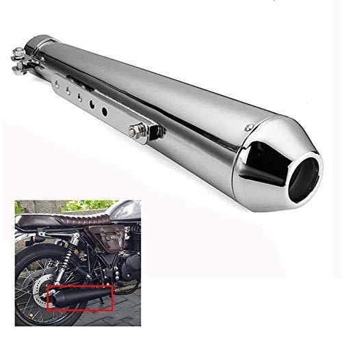 CONRAL Endschalldämpfer Slip on Auspuff für Motorrad, Edelstahl Auspuffrohr Motorrad, inkl. 3 Reduzierhülsen (35mm, 39mm, 43mm),Silver