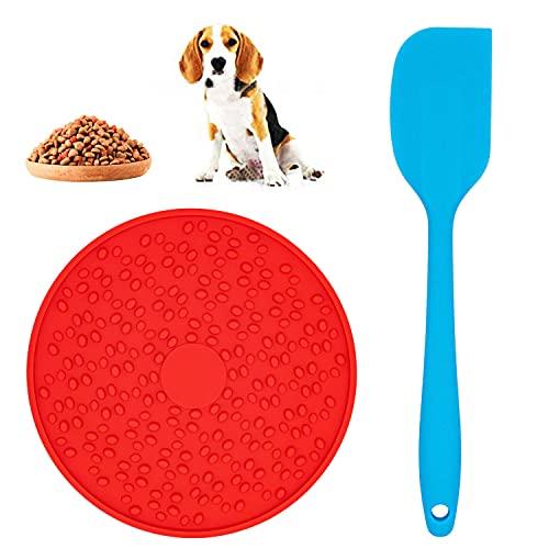 HUALIANG Hunde Lick Mat, mit 1 Silikonspatel, Leckmatte für Hunde, Hund Lecken Pad Lick Pad, Schleckmatte Hund, Slow Feeder, für Hunde und Katzen, Baden und Trainieren