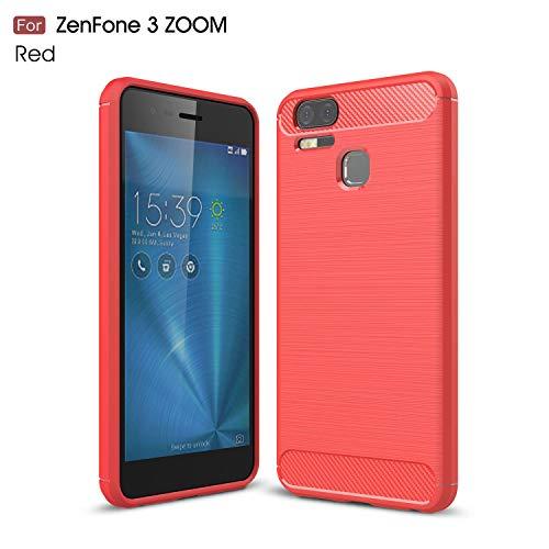 Ycloud Silikon TPU Schutzhülle für ASUS ZenFone 3 Zoom ZE553KL Weich Ultra Dünn Hülle Stoßfest Anti-rutsch Back Cover Kohlefaser Textur Rot Tasche für ASUS ZenFone 3 Zoom ZE553KL