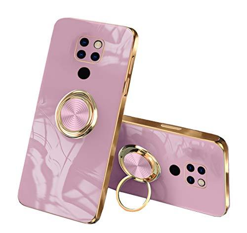 Funda compatible con Huawei Mate 20, carcasa fina, TPU suave, funda para teléfono móvil, funda con anillo de 360 grados y soporte magnético para coche, color negro (rosa, Huawei Mate 20)