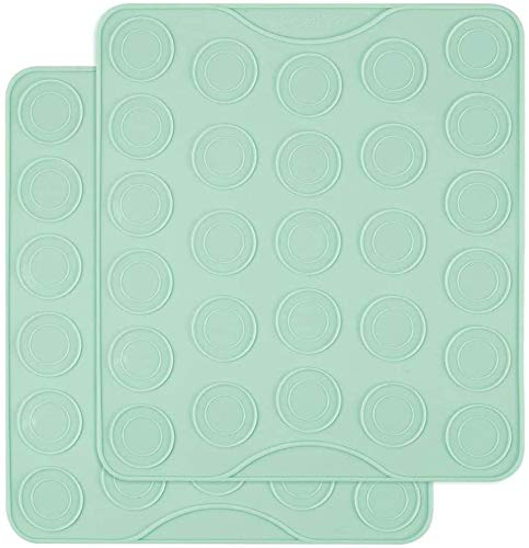 Webake Macaron Silicone Mat Set of 2, Macaroon Baking Mat 54-Cavity, Silicone Template Sheet Baking Pan Liner for Cookie, Pastry Making(Green)