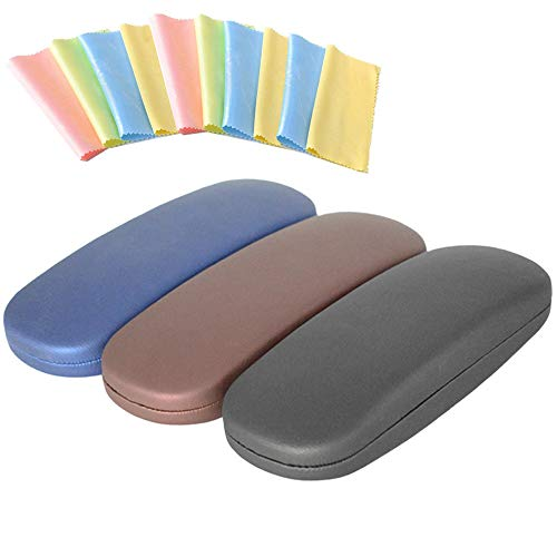 Hantier 3 Stücke Hard Shell Brillenetui Brillen Sonnenbrillen Schutzbox mit 10 Reinigungstüchern für Frauen und Männer