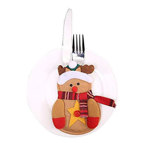 Hemore Accessoire de Noël Décoration de Noël Set de Couverts de Noël Elk 6PCS