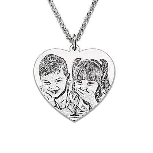 GDCB Personalizzato Foto incisa Cane Tag Collana Personalizzata a Forma di Cuore Immagine Messaggio Ciondolo San Valentino Regalo di Compleanno