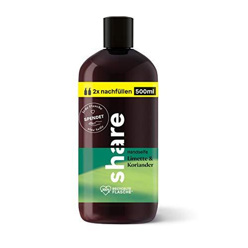 share Nachfüllflasche Flüssigseife Limette & Koriander, 500 ml, pH-hautneutral, vegan, ohne Farbstoffe