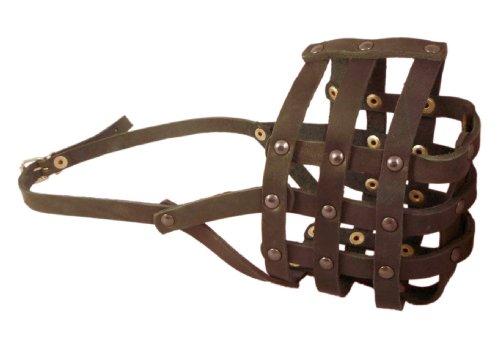 Maulkorb #111 aus echtem Leder, Umfang 36,3 cm, Schnauzenlänge 10,2 cm, Rottweiler, Pitbull, Cane Corso