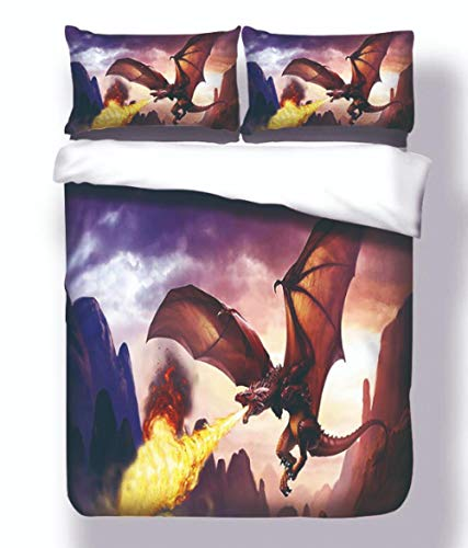 AIKIBELL 3D bedding-digital printing-fire-breathing dragon-bedding set-duvet cover + pillowcase 2-3 bed covers-teenagers-Christmas gift-200×200cm