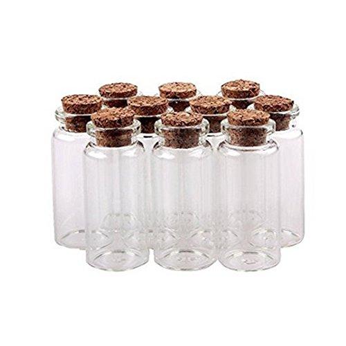 VASANA 12 tapones de corcho de 10 ml, botellas de cristal para decoración de bricolaje, mini botellas de cristal para pequeños mensajes, frascos de deseos, botellas de regalo para bodas y fiestas