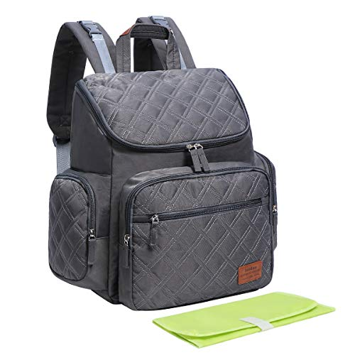 Landuo Diaper Bag Backpack Multi-Function Waterproof Large Travel Backpack Nappy Bags for Mom Dad with Changing Pad (Grey)