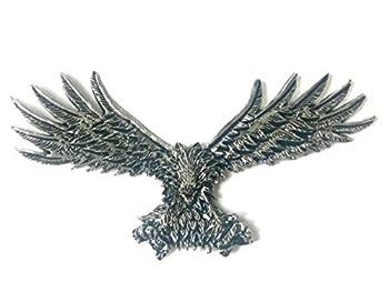 4.5  X 2.25  inch Eagle USA Metal Medallion Harley Sportster Sissy Bar Backrest Davidson Bobber Chopper Emblem Logo Stick On 3M Decal Sticker Badge Dyna Biker Motorcycle Pewter Chrome flying eagles HD