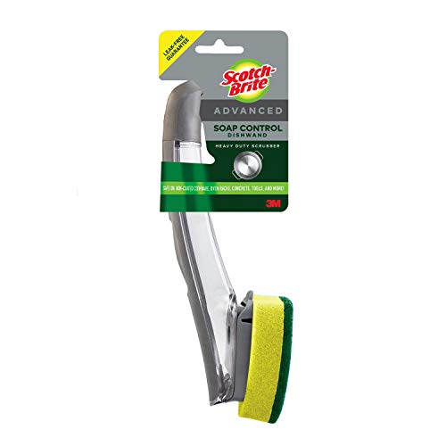 Scotch-Brite Heavy Duty Advanced Soap Control Dishwand, Control Soap With A Button, Keep Your Hands Out Of Dirty Water, Long Lasting and Reusable
