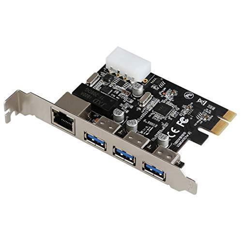 JMT PCI-E a Externo 3 Puertos 5 Gbps USB 3.0 HUB+RJ-45 Gigabit...