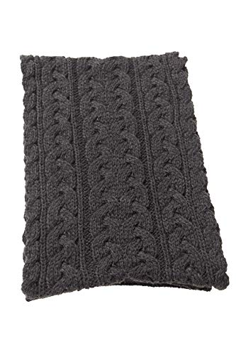 Aran Crafts Irish Cable Knitted Wool Heavyweight Scarf 10'x64' (X4855-CHAR) Charcoal