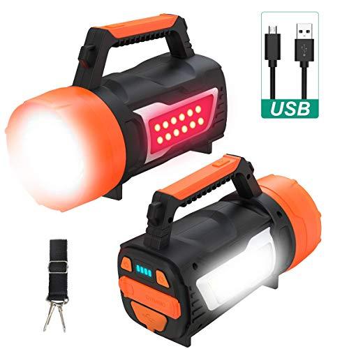 POWERAXIS LED Handscheinwerfer, 3 in 1 Taschenlampe mit USB Kabel 5000mAh Powerbank, Wiederaufladbare CREE Akku Taschenlampe. 3 Lichtmodi 2 Helligkeitsstufen für Notfall Camping. [Energieklasse A+]