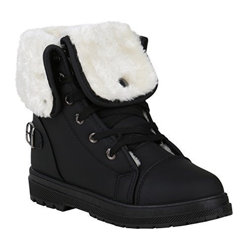 Warm Gefütterte Damen Stiefeletten Worker Boots Outdoor Schuhe 150379 Schwarz Arriate 39 Flandell