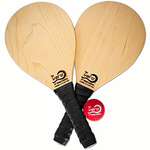 Vero Frescobol American Birch Wood Beach Frescobol Paddle Set, dos bolas oficiales, bolsa de mano, Estados Unidos