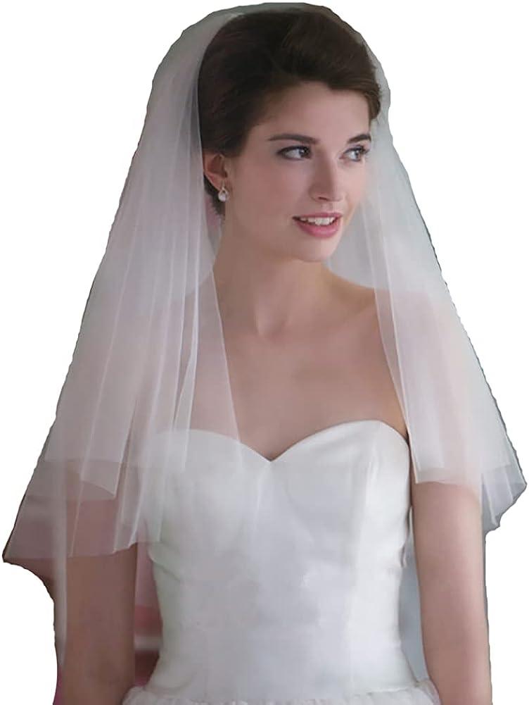 Haraty Wedding Bridal Veils 2 Tier Bridal Cut Edge Tulle with Comb
