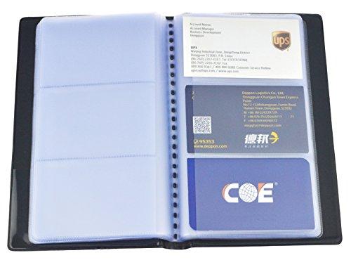 SAMYO Diario de negocios con nombre de tarjeta para 240 tarjetas, piel sintética, color negro