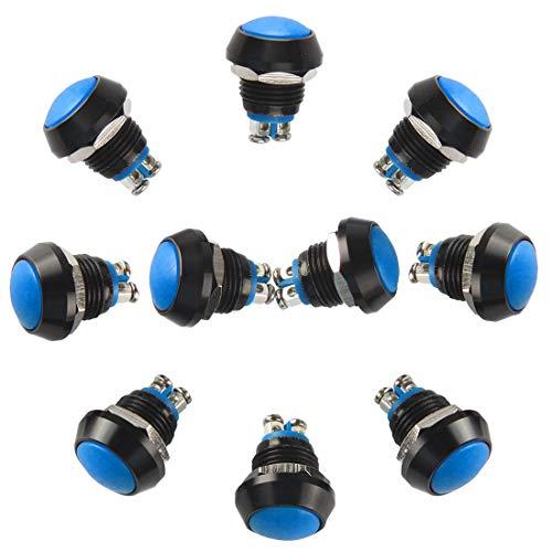 Larcele JSANKG-13 - Pulsador de botón (12 mm, resistente al agua, con conexión de rosca, 10 unidades), color azul