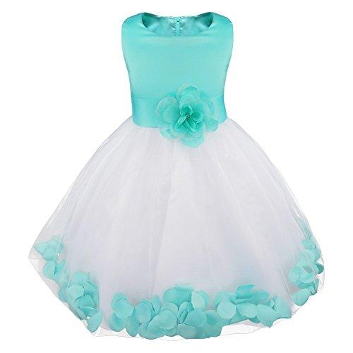 IEFIEL Vestido Elegante de Fiesta Boda para Niña Vestido Flores de Dama de Honor Vestido Blanco de Bautizo Vestido Princesa de Ceremonia Turquesa A 8 años