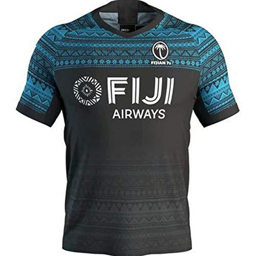 Rugby Jerseys amerikanischer Fußballjerseys Fidschi Rugby Jersey 2018 Fiji 7s Jugend Kurz-Hülse Damen-Shirts Männer T-Shirts Fitness-Kleidung Weiche Airy Schnell TRO Away Game-L