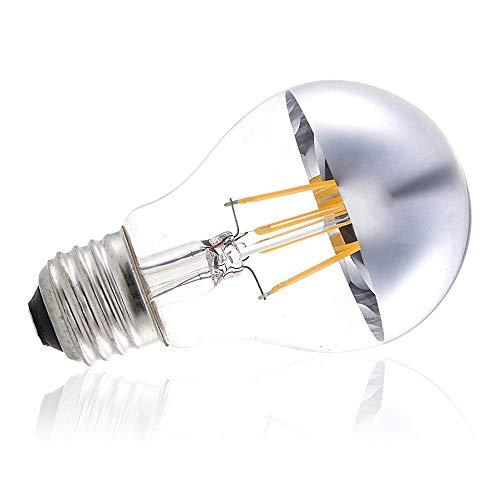 YSSMAO Caliente Blanco Corona DE Plata/TURICA LED Bombilla de filamento A60 Forma estándar 8W E26 / E27 Base Medio Espejo Edison Bombilla de la luz,E26 110v