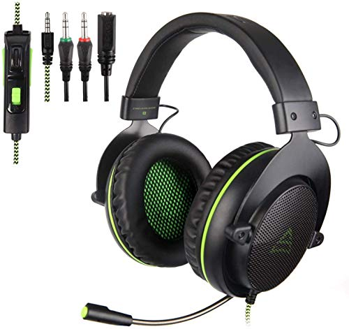 [Xbox One, PS4 Gaming Headset ]SUPSOO G830 Gaming Headset for New Xbox One, PS4 Controller,3.5mm Wired Over-ear Noise Isolating Microphone Volume Control for Mac/ PC/Laptop / PS4/Xbox One(Black&Green) Headsets Mac