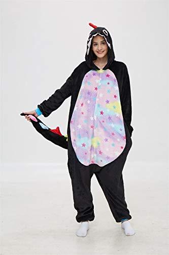 Unisex Schlafanzug Erwachsene Schwarze Onesies Pyjamas Cartoon Pyjama Cosplay Kostüme Sleepsuit Animal Sleepwear Pijama Kostüm Jumpsuit (Color : Black, Size : 11T)