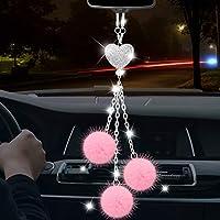 Toovren Rhinestones Crystal Love Heart and Pink Plush Ball