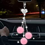 Bling Car Accessories for Women Interior Cute Hanging Rear View Mirror Accessories, TOOVREN Rhinestones Crystal Love Heart and Pink Plush Ball Ornaments Girly Rearview Mirror Charms Lucky Decor