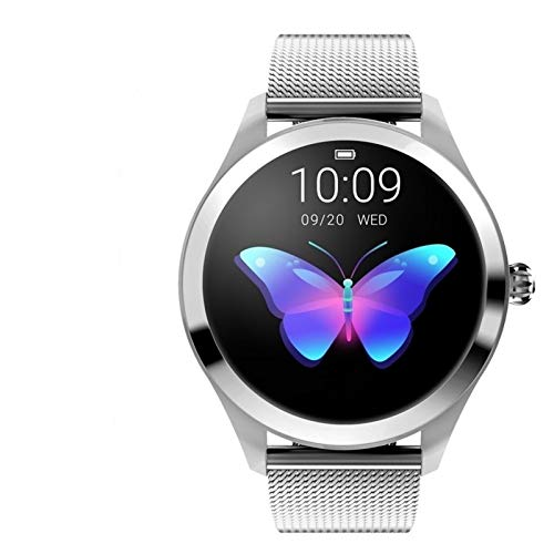 Smartwatch Frauen-Uhr-Runde Wasserdicht Touch Screen KW10 Fitness Tracker, mit Pulsmesser, weiblich Physiologische Erinnerung, Schwimmen Mult Sport-Modus.Sport-Uhr unterstützt Huawei Samsung IPhone