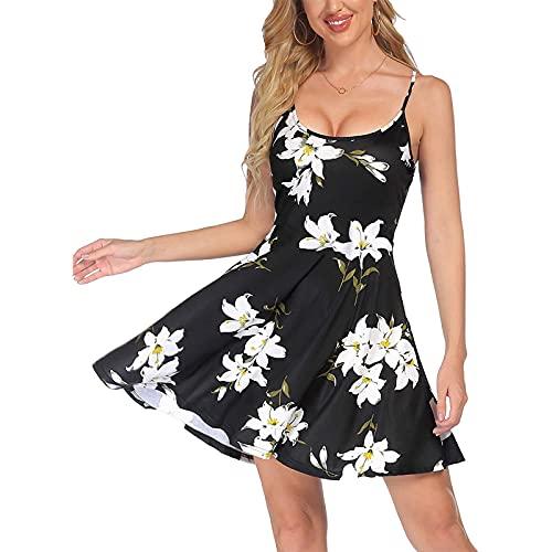 Vestido de verano para mujer, sin mangas, con estampado de flores, con correa para el hombro ajustable, vestido de playa, colorido, moderno, elegante, elegante, elegante, acampanado, Blanco, S