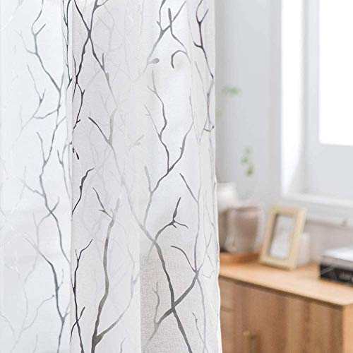Tree Branch Curtains 63 inch Length-White and Sliver Sheer Curtains with Silver Branch Pattern Window Curtains for Bedroom, 52 x 63 Inch, 2 Panels, White Silver