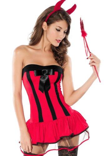 r-dessous Teufelskostüm rot Damen Kostüm Teufel Teufelin Hölle Devil Halloween Karneval Groesse: L/XL