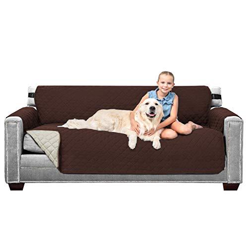 Fodere per divano Copridivano 3/4 posti Copridivano per cani / animali domestici / Coprisedili per bambini Impermeabile trapuntato morbido e morbido (reversibile marrone / beige)