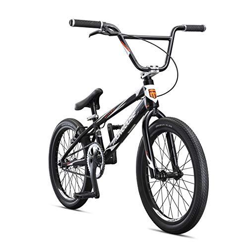 Mongoose-titel Elite Pro BMX-renfiets met 20-duim-wiele in swart vir gevorderde ruiters, met 'n professionele 6061 Tectonic T1 Biaxial Hydroformed en Butted aluminium raam