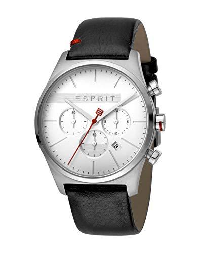 Esprit Herren Chronograph Quarz Uhr mit Leder Armband ES1G053L0015