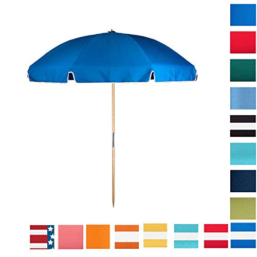 7.5 ft. Steel Commercial Grade Heavy Duty Beach Umbrella with Ash Wood Pole & Acrylic Fabric