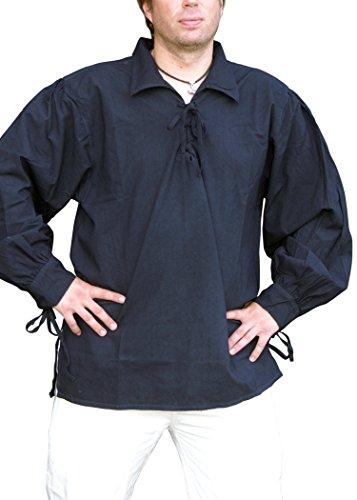 Mittelalterhemd/pirate pour homme avec col en coton noir-mOYEN-style gothique SMALL