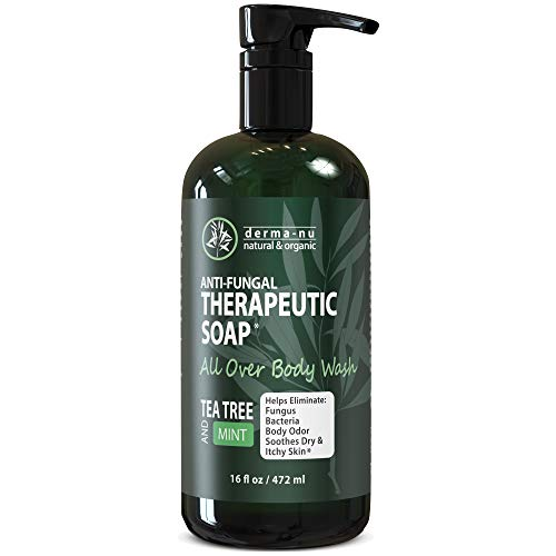 Antifungal Soap and Antibacterial Body Wash - Body Acne Wash, Tea Tree Soap with Tea Tree Oil for Jock Itch, Athletes Foot, Body Odor, Nail Fungus, Ringworm, Eczema & Back Acne Body Wash (16oz)